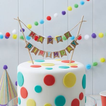 "Kraft Party -  ""Happy Birthday"" Cake Bunting"